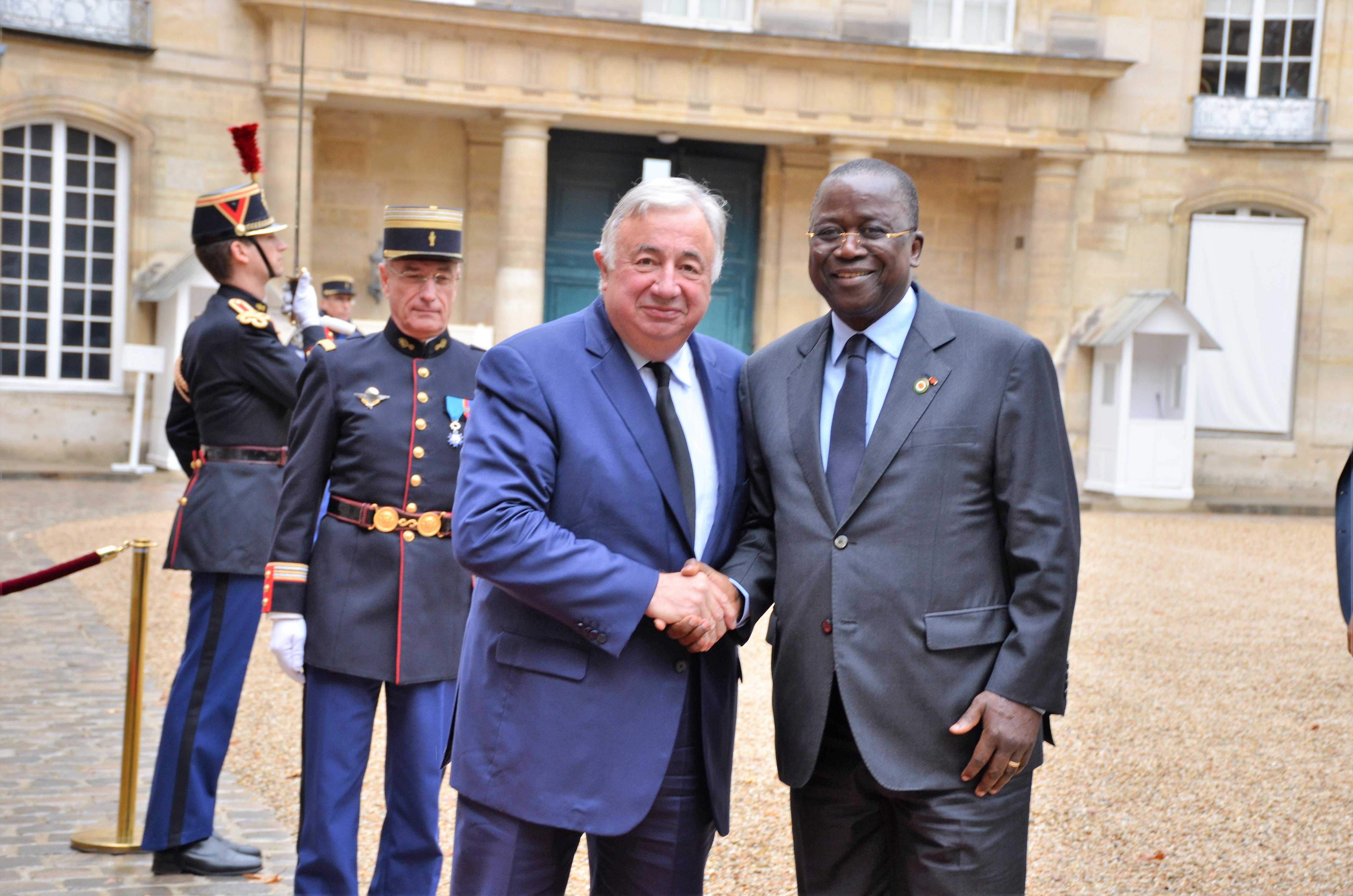 France / Côte d'Ivoire:  Jeannot Ahoussou et Gérard Larcher signent un accord de coopération entre Sénats