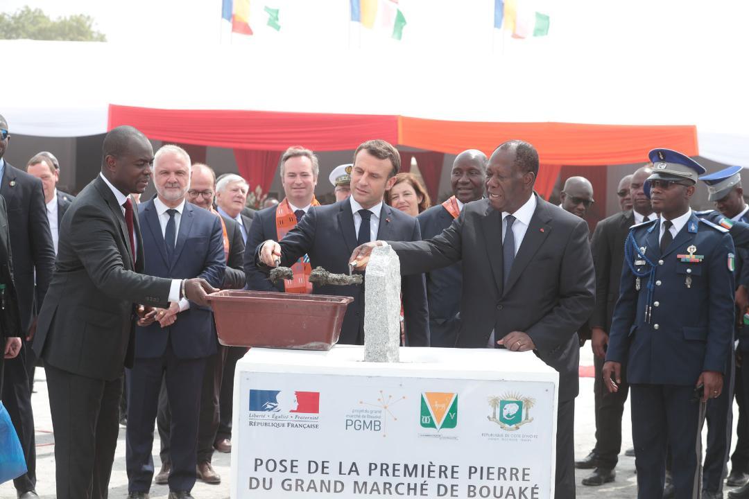 Le Chef de l'Etat et son homologue français ont lancé les travaux de construction du Grand Marché de Bouaké